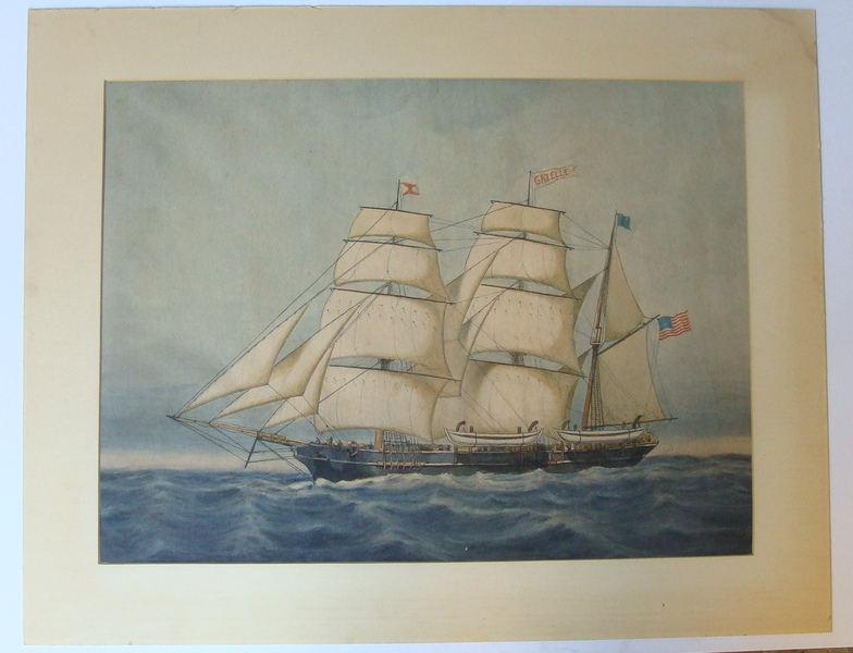 L A Briggs watercolor of the whaling ship Gazelle