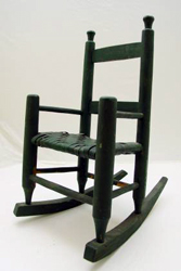 19th Century Green Painted Doll Rocking Chair